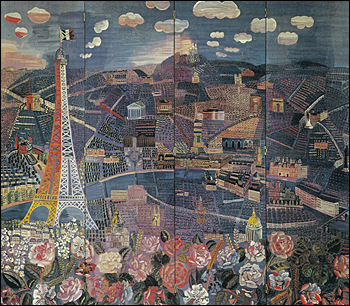 Photomontage vintage originale (33,2 x 26,4 cm). Raoul Dufy - Panorama de Paris 1924.